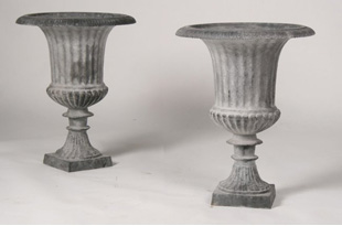 ACC2058: Pair of Cast Iron Garden Urns with Lead Wash