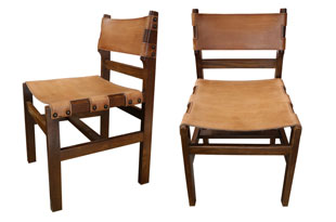 FRN799: Set of Six Wood and Leather Chairs