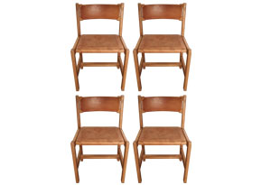 FRN803: Set of Four Oak and Leather Side Chairs