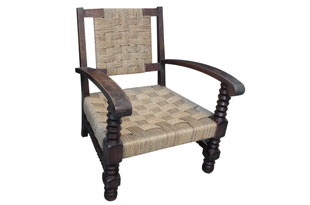 FRN812: Set of Three French Seagrass and Wood Lounge Chairs