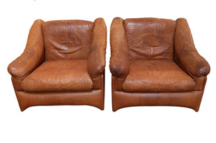 FRN787: Pair of Valenti Leather Armchairs