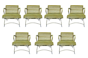 FRN826: Set of Seven Yellow Armchairs