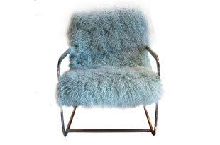 FRN737: Chrome Arm Chair upholstered in Moore and Giles Hair on Hide