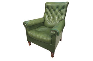 FRN897: Green Leather Armchair