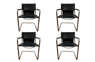 FRN880: Set of Four Matteo Grassi Leather & Chrome Chairs