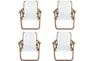 FRN920: Set of Four Rattan Folding Chairs