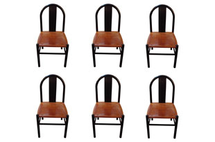 FRN900: Set of Six Wood and Leather Chairs