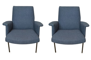 FRN918: Pair of Armchairs with Iron Legs