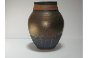ACC1350: Large Thick Necked Silver Brown Ceramic Vase
