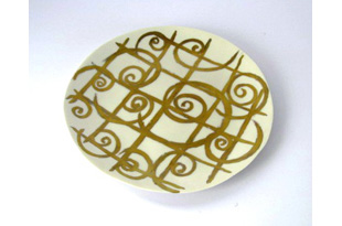 ACC618: Dinner Plate with Silk Gold Curls