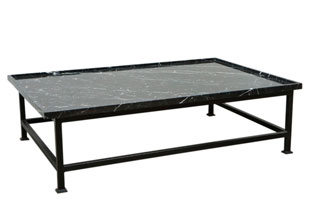 FRN260: Harbinger Simple Iron Base Coffee Table with Stone Top