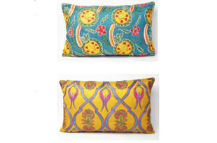 PIL351: Diodba Yellow Pomegranate Teal Gold Pillow